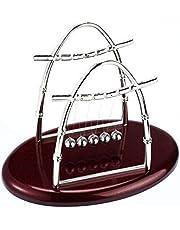 تحفة للزينة على شكل مهد نيوتن بتصميم بيضاوي مزود بقاعدة خشبية 20سم