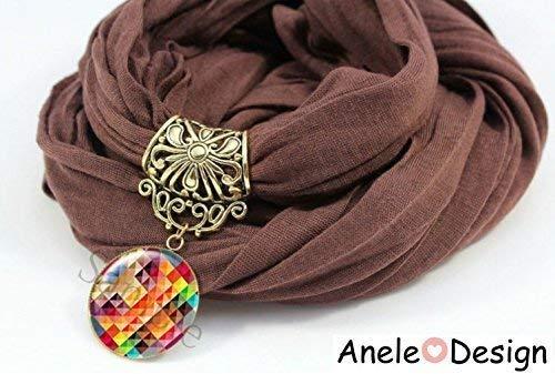 Écharpe foulard bijou marron multicolore