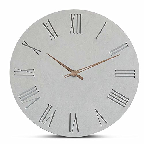 FlorLife 12'' Huge Vintage Roman Numerals Wall Clock, Simple European Style MDF Wooden Grey Decorative Round AA Battry Wall Clock for Kids Bedrooms, Living Room, Bathroom, Sitting Room by FlorLife