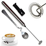 hot milk chocolate maker - Milk Frother Handheld Battery Operated Electric Foam Maker for Coffee, Cappuccinos, Latte, Hot Chocolate, Durable Mixer with Stainless Steel Whisk, Stand and Mix Spoon Include