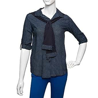 Puanli Blue Cotton Shirt Neck Shirts For Women