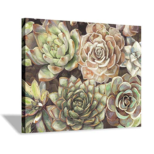 (Hardy Gallery Succulent Wall Art Floral Painting: Painted Botanical Bloom Graphic Artwork Print on Canvas for Living Room (24''x18''))