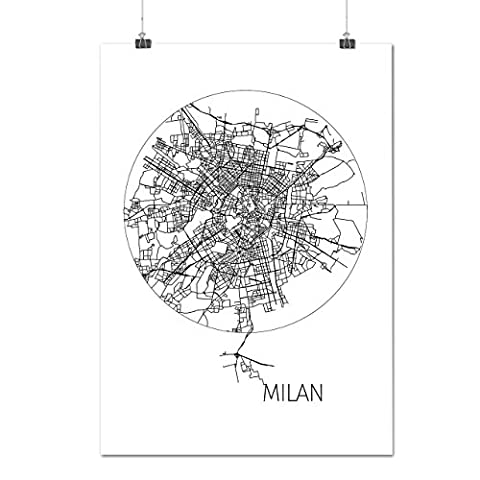 Italy Milan City Map Europe View Matte/Glossy Poster A2 (17x24 inches) | Wellcoda (Reykjavik City Map)