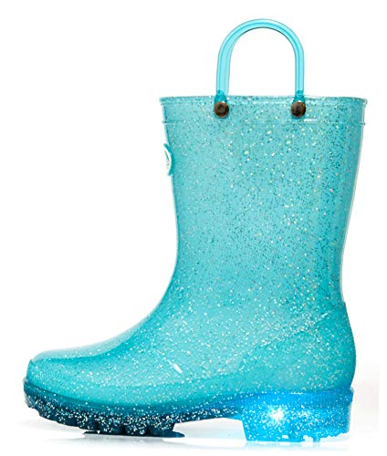 Outee Toddler Girls Little Kids Light Up Rain Boots Waterproof Shoes Glitter Lightweight Cute Lovely with Easy-on Handles and Insole (Size 10,Blue)