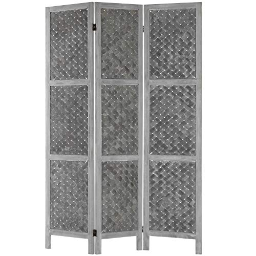 - MyGift 3-Panel Distressed Grey Woven Wood-Framed Dual-Hinged Room Divider