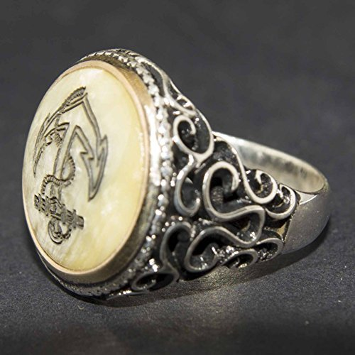 Pearl Natural Gemstone Free Express Shipping Falcon Jewelry 925 Sterling Silver Men Ring Ship Anchor Ring