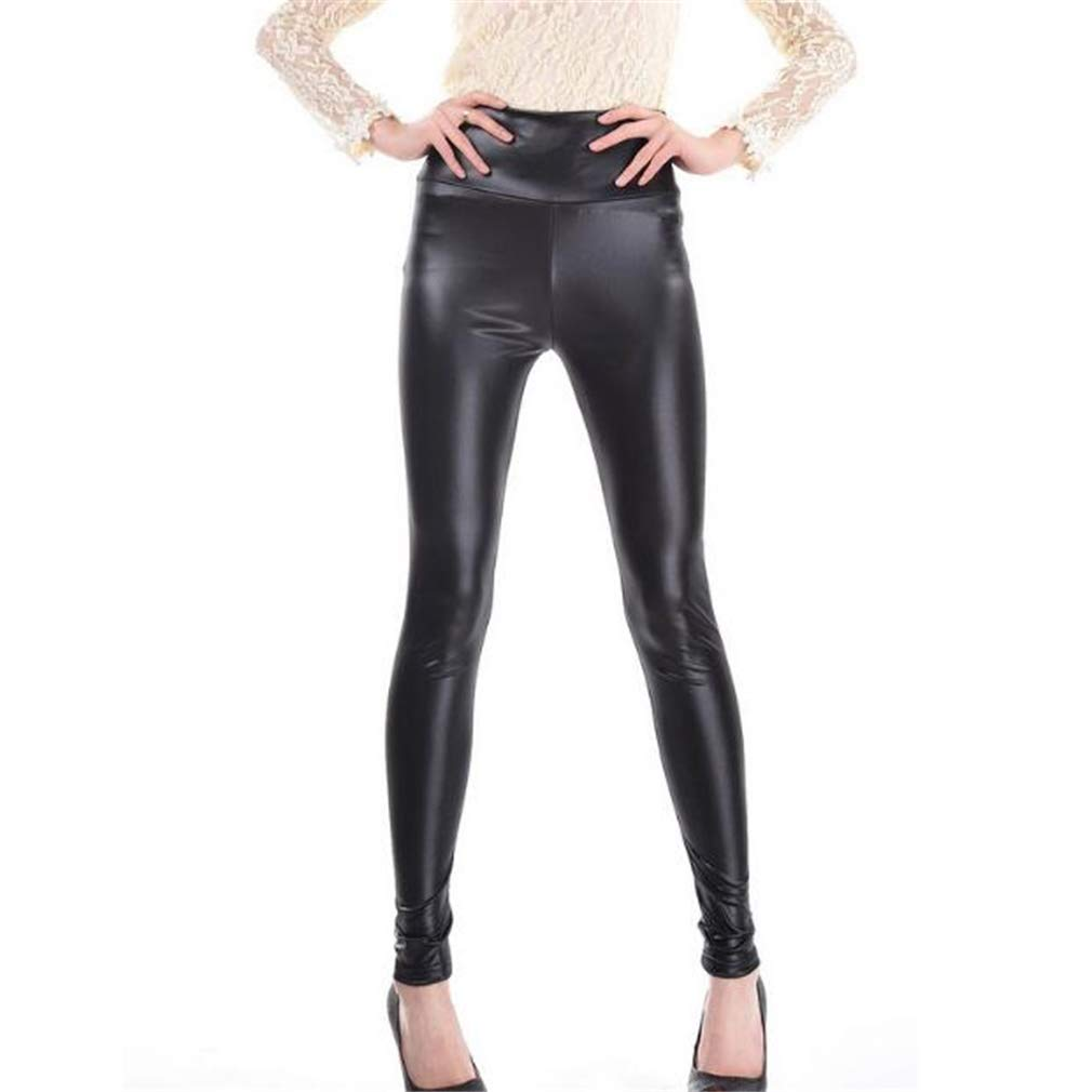 Ideal Gift Women's High Waist Trousers Slim Imitation Leather Leggings Pants (Color : Black, Size : XL) by Tuersuer (Image #4)