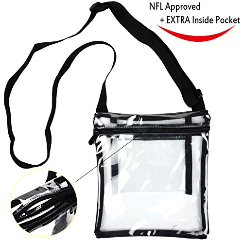 Youngever Deluxe Clear Cross-Body Purse, NFL and PGA Stadium Approved Clear Vinyl Bag - Adjustable Cross-Body Strap Clear Plastic Bag, Larger Size, Extra Inside Pocket by Youngever
