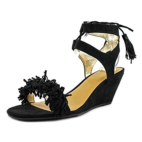Haniya Platform Casual Material Womens Black Leather Girl Sandals Toe Open EwOOqBRx4