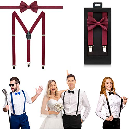 McWay Bowtie and Suspender Set For Men, Adults | Premium Quality | With Gift Box | Wide And Adjustable | Classy Design (Burgundy)