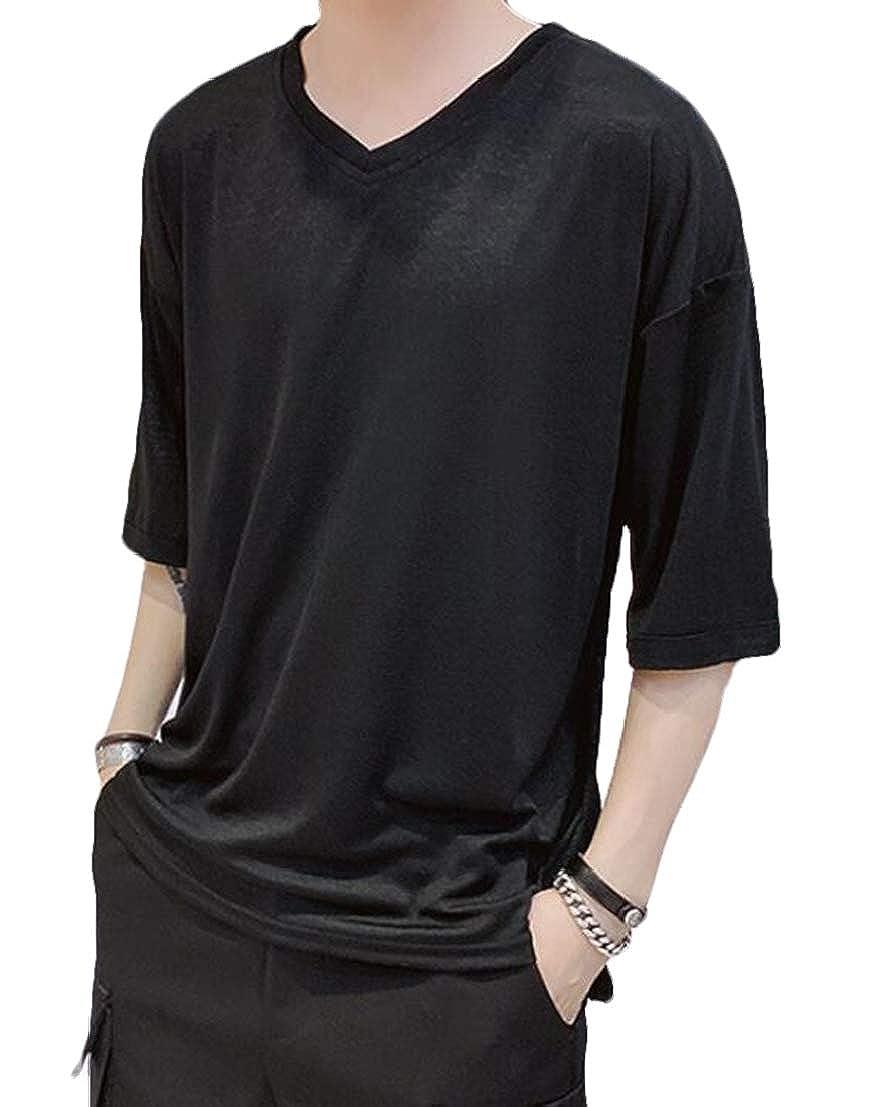 UUYUK Men Half Sleeve Solid Short Sleeve Summer Leisure V-Neck Tee T-Shirt