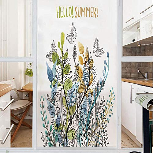 Decorative Window Film,No Glue Frosted Privacy Film,Stained Glass Door Film,Hello Summer with Watercolor Fern Branch Butterfly Harvest Season Paint Decorative,for Home & Office,23.6In. by 35.4In Amber Amber Opal Stained Glass