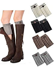 Women Boot Cuffs - Winter Knitted Boots Socks Crochet Short Leg Warmers