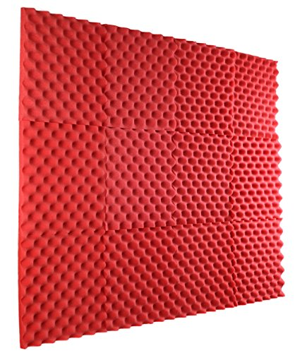 New Level 12 Pack - All Red Acoustic Panels Studio Foam Egg Crate 1 X 12 X 12