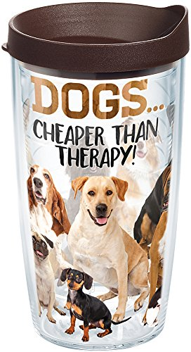 Tervis 1249733 Dog Therapy Tumbler with Wrap and Brown Lid 16oz, Clear