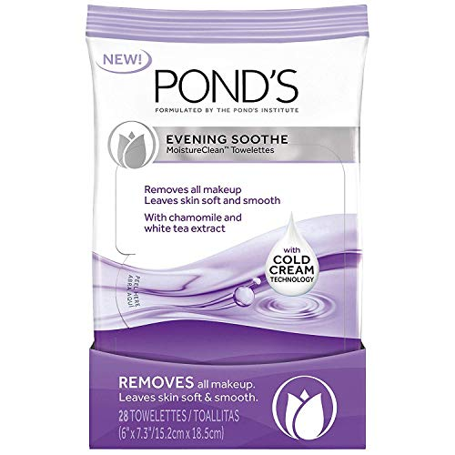 (Pond's Evening Soothe Wet Cleansing Towelettes with Chamomile and White Tea, 28 Count)