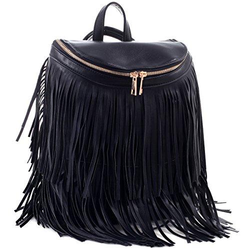 Fringe Flap (Dasein Fringe Top Flap Zipper Backpack Bucket Bag - Black)