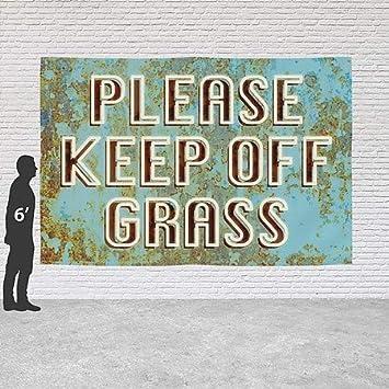 CGSignLab Please Keep Off Grass Ghost Aged Blue Heavy-Duty Outdoor Vinyl Banner 12x8