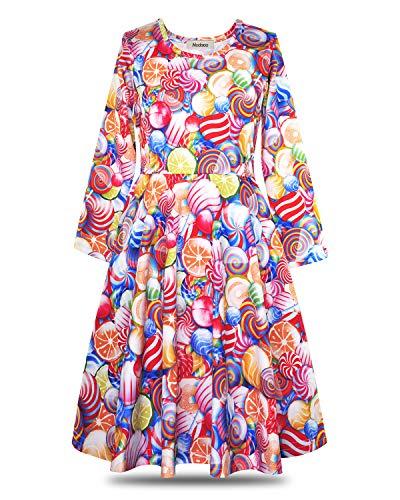 ModaIOO Gilrs Colourful Candy Long Sleeve Dress(8021,Candy,150)]()