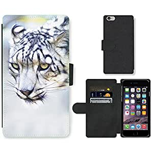 """Hot Style Cell Phone Card Slot PU Leather Wallet Case // M00110412 Snow Leopard Cat Feline Animal // Apple iPhone 6 4.7"""""""
