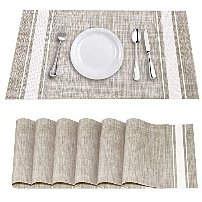 """YOSICHY Table Mats Set of 6 Crossweave Woven Vinyl Placemats Heat Resistant Non-Slip Kitchen Placemats for Dining Table… - Size in:18""""X12""""(45cmX30cm),Set of 4. Composition: 70% PVC, 30% polyester UV protected to resist fading, made of durable and ventilate material for everyday use with long lifespan,perfect for indoor or outdoor use Eco-friendly kitchen table mats, non-stain,washable and easy to clean, dries very quickly, can roll up to store away, placemats can be flattened when put out to use - placemats, kitchen-dining-room-table-linens, kitchen-dining-room - 51IVENqQAyL. SS400  -"""
