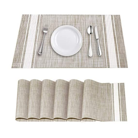 """YOSICHY Table Mats Set of 6 Crossweave Woven Vinyl Placemats Heat Resistant Non-Slip Kitchen Placemats for Dining Table Washable Easy to Clean(White) - Size in:18""""X12""""(45cmX30cm),Set of 4. Composition: 70% PVC, 30% polyester UV protected to resist fading, made of durable and ventilate material for everyday use with long lifespan,perfect for indoor or outdoor use Eco-friendly kitchen table mats, non-stain,washable and easy to clean, dries very quickly, can roll up to store away, placemats can be flattened when put out to use - placemats, kitchen-dining-room-table-linens, kitchen-dining-room - 51IVENqQAyL. SS570  -"""