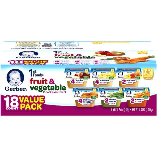 Gerber 1st Foods Assorted Fruits and Vegetables, 2 Ounce, 18 Packs 10120