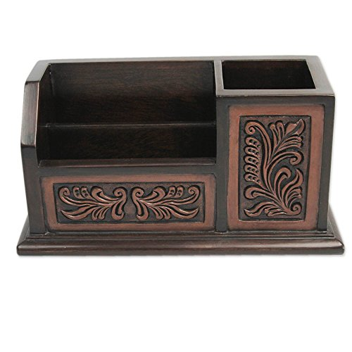 NOVICA Decorative Leather and Wood Desk Organizer, Brown, Andean (Novica Leather Table)
