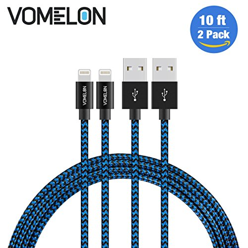 Fits Most 2' Receivers (Lightning Cable, 2Pack 10FT Nylon Braided Extra Long Tangle-Free Cord Lightning Cable Certified to USB iPhone Charger for iPhone 7/7 Plus/6S/6 Plus, SE/5S/5, iPad, iPod Nano 7-[Blue+Black])