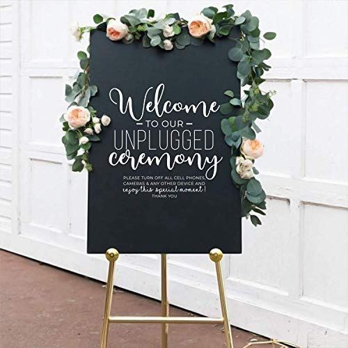 Vinyl Wall Art Decal - Welcome to Our Unplugged Ceremony - 22 x 22 - Modern Quote for Wedding Ceremony Husband Wife Guests Mirror Glass Cardboard Wood Frame Decoration Sticker