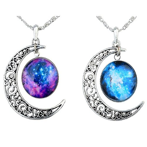 Tricess Women's Crescent Moon Galactic Universe Cabochon Pendant Necklace Jewelry Set Gift