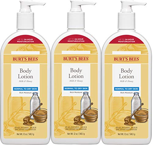 Burt's Bees Milk & Honey Body Lotion, Normal to Dry Skin - 12 Ounce (Packaging May Vary)