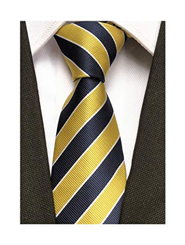 Secdtie Men's Classic Stripe Jacquard Woven Silk Tie Formal Party Suit Necktie (One Size, Yellow Navy) (Blue Shirt Yellow Tie)