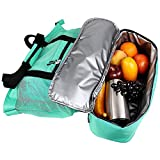 SortWise ® 2-in-1 Mesh Beach Tote Bag, with Bottom Zipper & Heat Insulated Picnic Cooler Bags, Outdoor Sports Travel Toys Organizer Storage Packs (Green, Large)