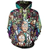 Rick & Morty Cartoon Unisex Fashion Print Zip Hoodie sweatshirt Trend Keep warm sweatshirt Popular Tops M