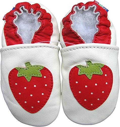 Carozoo weiche Sohle Leder Babyschuhe Krabbelschuhe Laufschuhe Krippe Enfants Hausschuhe Neugeborene Jungen Mädchen bis 7-8 Jahre Erdbeere