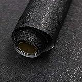 "16"" X 118"" Black Silk Wallpaper Embossed Self Adhesive Peel and Stick Wallpaper Removable Kitchen Wallpaper Vinyl Black Wallpaper Cabinet Furniture Countertop Shelf Paper"
