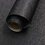 """Tools & Hardware : 16"""" X 118"""" Black Silk Wallpaper Embossed Self Adhesive Peel and Stick Wallpaper Removable Kitchen Wallpaper Vinyl Black Wallpaper Cabinet Furniture Countertop Shelf Paper"""