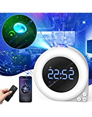 SKYBASIC Star Light Projector 5 in1 Night Light/Remote Controlled Galaxy Projector/White Noise/Alarm Clock/Bluetooth Music Player, Bedroom Decor Lights Children Adults Good Gifts for Party Christmas