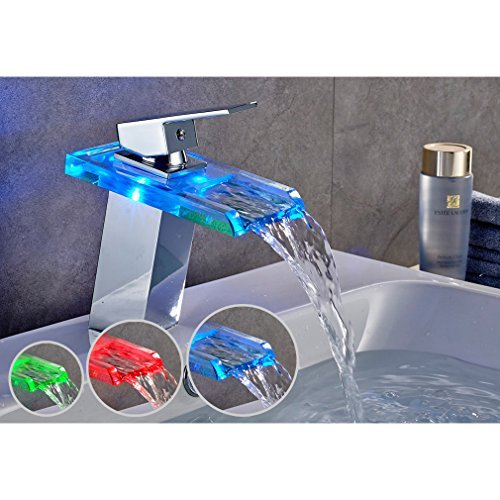 FChome Bathroom LED Faucet Waterfall Basin Glass Faucet Single Hand Single Hole Mixer Tap Sink Faucet 3 Colors Changing,Chrome Finish -
