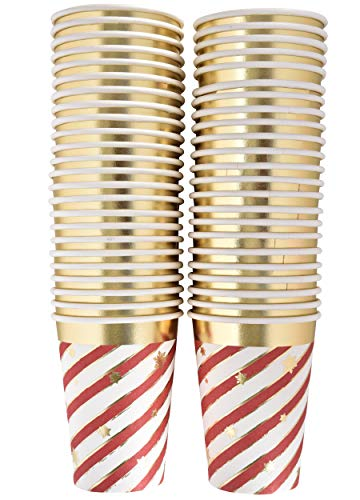 50 Disposable Christmas Cups 9 oz. Paper in Elegant Candy Cane Striped Design with Gold Foil Outline and Scattered Snowflakes for Holiday Party Supplies (Coffee Christmas Plastic Mugs)