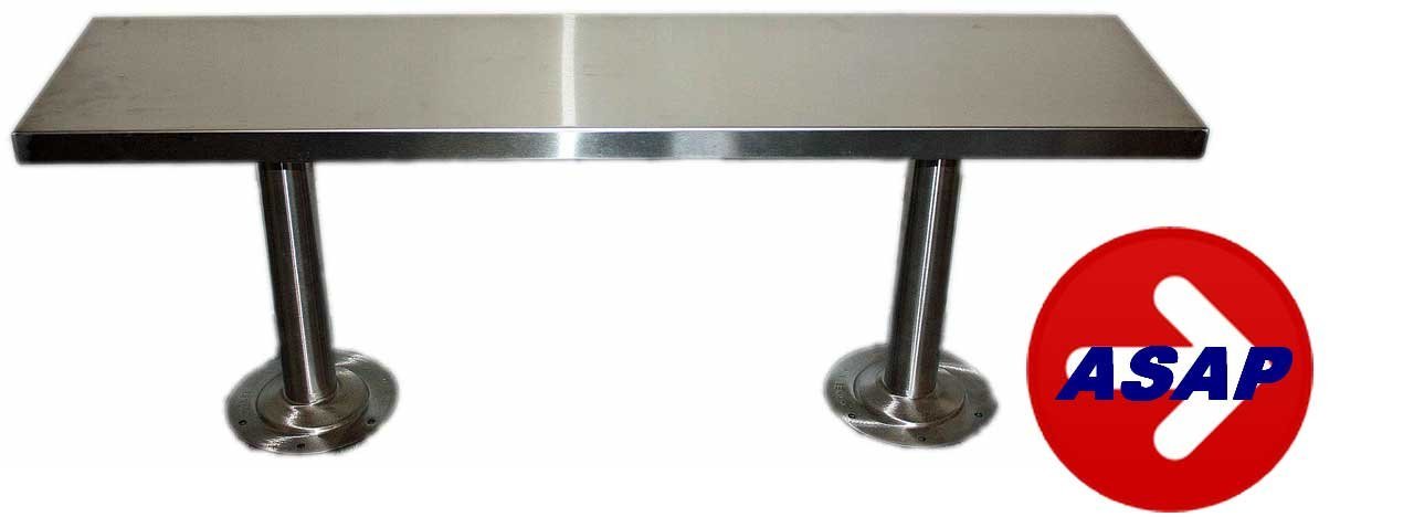Stainless Steel Locker Room Bench and Pedestals - 72'' L x 12'' W x 17 3/4'' H by Robinson Steel Co. (Image #1)