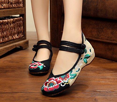 Tendón Zll Femenina Black Zapatos Baile Bordados Lenguado Tela De Cómodo Estilo Étnico Moda HqT4qfZn