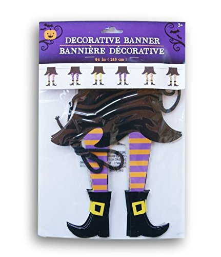 Spooky Boots (Spooky Halloween Decor Witch Boots Banner Garland Set - 84 Inches)