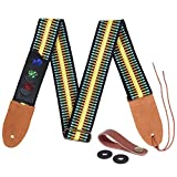 Genuine Leather Ends Guitar Strap with Guitar Pick Holders Wide Cotton Baldric Electric Bass Acoustic Guitar Strap Button Strap Lock