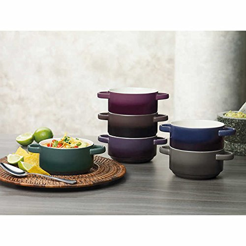 6-Piece Stackable, Dishwasher Safe, Microwave Safe, Durable Stoneware, Ombre Bowl Set Gourmet Basics by Mikasa features Two Convenient Non-Heating Handles (Handle Bowl)