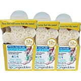 Spongeables 3 Pack Citrus Aromatherapy Foot Exfoliating Sponge with Heel Buffer & Pedicure Oil, Foot Scrub Daily Bath Exfoliator with Eucalyptus & Lavender 12+ washes