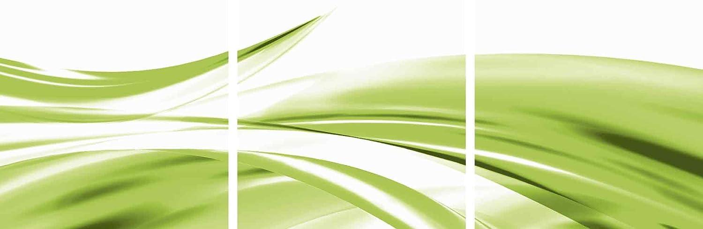 Artland Qualitätsbilder I Glasbilder Deko Glas Bilder 150 x 50 cm mehrteilig Abstrakte Motive Gegenstandslos Digitale Kunst Grün A5ZQ Schöne grüne Welle