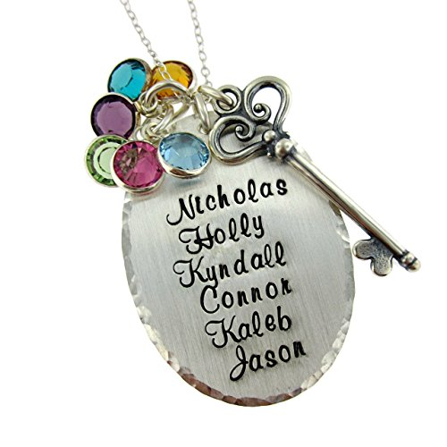 Victorian Key Personalized Birthstone & Name Necklace