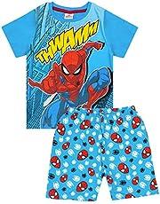 Corta Azul Pijamas Ropa de Dormir de Marvel Spiderman Comic Thwamm Boy